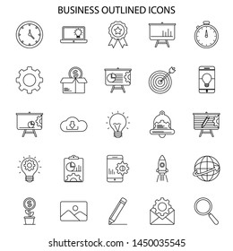 Business and Seo outlined icons collection. Vector.