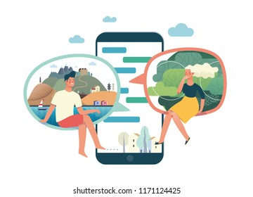 Business series - chat - modern flat vector illustration concept of people chating in the messenger and the chat app on the phone screen. Creative landing page or company support design template