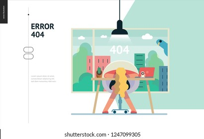 Business series, color 1- error 404 -modern flat vector concept illustration of page Error 404. Exhausted woman laying on the office table Page not found metaphor Creative landing page design template