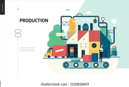 Business series, color 1 - factory production -modern flat vector illustration concept of industrial enterprise. Manufacturing and production interaction process. Creative landing page design template