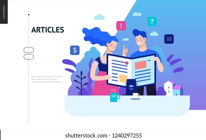 Business series, color 2 - articles - modern flat vector illustration concept of man and woman reading article on the folded computer screen like a magazine. Creative landing page design template