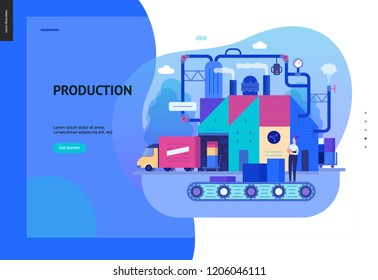 Business series, color 2 - factory production -modern flat vector illustration concept of industrial enterprise. Manufacturing and production interaction process. Creative landing page design template