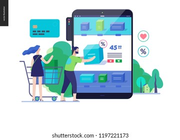 Business series, color 3 - buy online shop - modern flat vector illustration concept of man and woman shopping online Website interaction and purchasing process. Creative landing page design template