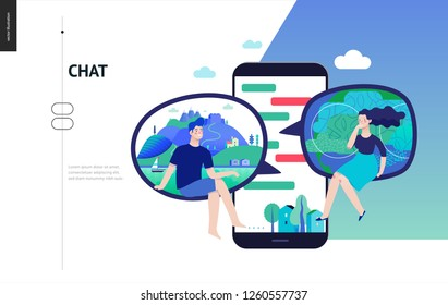 Business series, color 3 - chat - modern flat vector illustration concept of people chating in messenger and the chat app on the phone screen. Creative landing page or company support design template