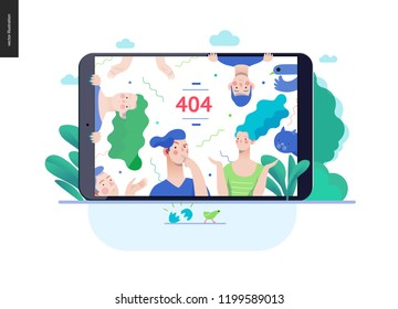 Business series, color 3 - error 404 -modern flat vector concept illustration of page Error 404 - puzzled people on the tablet screen. Page not found metaphor Creative landing page design template