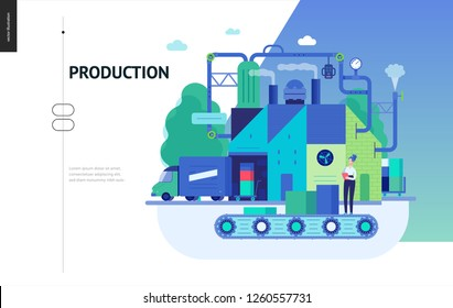 Business series, color 3 - factory production -modern flat vector illustration concept of industrial enterprise. Manufacturing and production interaction process. Creative landing page design template