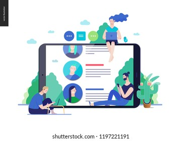 Business series, color 3 - reviews -modern flat vector illustration concept of people writing reviews and the review page on the tablet screen. Creative landing page or company product design template