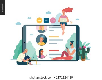 Business series - reviews - modern flat vector illustration concept of people writing reviews and the review page on the tablet screen. Creative landing page or company product design template