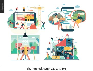Business series set, color 1 - modern flat vector concept illustrated topics - Company, teamwork, collaboration, chat, error 404. Creative landing web page design template