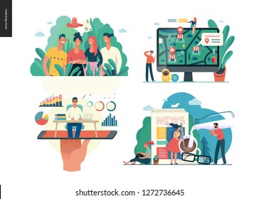 Business series set, color 1 -modern flat vector concept illustrated topics -about company, contact, office life, expert online consulting, news and articles. Creative landing web page design template