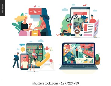 Business series set, color 1 -modern flat vector concept illustrated topics - where to buy - discount, news - articles, contacts, about company - office life. Creative landing web page design template