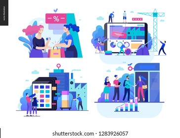 Business series set, color 1 -modern flat vector concept illustrated topics - where to buy - discount, collaboration - teamwork, product catalogue, partners. Creative landing web page design template