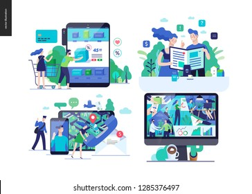 Business series set, color 2-modern flat vector concept illustrated topics - online shopping, cart, catalogue, article, contacts, about company - office life. Creative landing web page design template