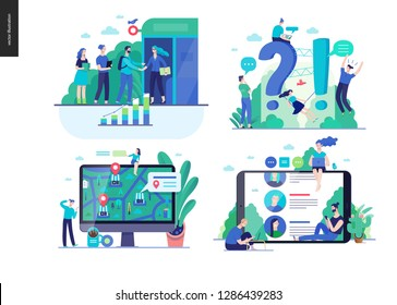 Business series set, color 2-modern flat vector concept illustrated topics -b2b partnership, questions and answers faq, where to buy -location, forum reviews. Creative landing web page design template