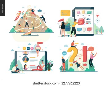 Business series set modern flat vector concept illustrated topics - career, buy online shopping, reviews, faq - question and answer. Creative landing web page design template