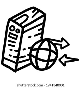 Business server hand drawn icon design, outline black, doodle icon, vector icon