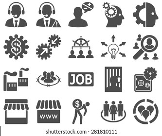 Business, service, management icons. These flat symbols use gray color. Images are isolated on a white background. Angles are rounded.
