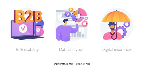 Business services icons set. Corporate partnership, statistic analysis, internet security. B2B usability, data analytics, digital insurance metaphors. Vector isolated concept metaphor illustrations