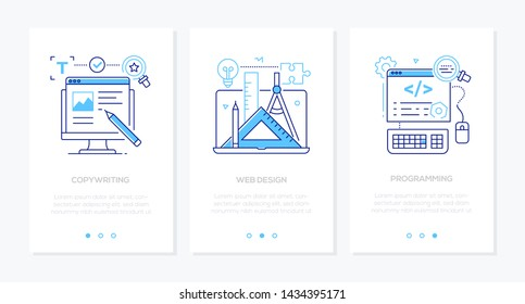 Business and services - set of linear style vertical web banners on white background with copy space for text. Images of computer, coding, graphic tools, laptop. Copywriting, web design, programming