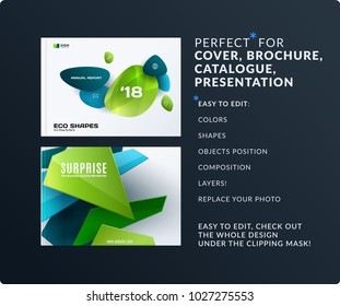 Business set of design brochure, abstract annual report, horizontal cover