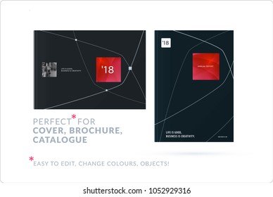 Business set of design brochure, abstract annual report, horizontal cover flyer in A4