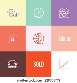 Business set. Flat color vector icons.