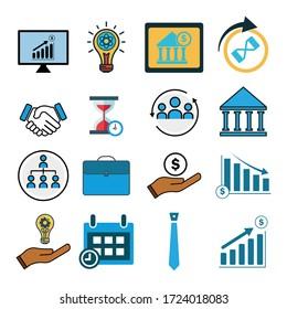 Business set icon. Design template vector