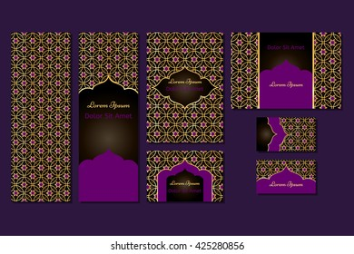 Business set or menu set with traditional arabic geometric pattern with stars. Abstract vector background. Indian, Arabic, Islam motifs. Brochure, menu or invitation cover and business card designs.