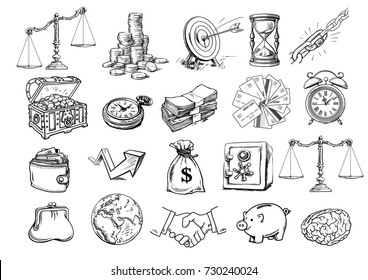Business set. Scales, stack of coins, sack of dollars, credit cards, handshake, purse, wallet, piggy bank, target, safe, pocket watch, chest, arrow, brain, globe, hourglass. Sketch vector illustration