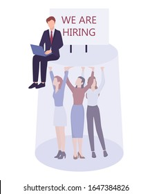 Business sexism concept. Glass ceiling and workplace discrimination issues for woman. Businessman HR agent hiring only men for a high post. Isolated vector illustration.