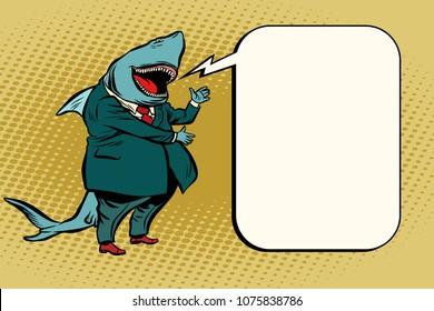 Business shark comic bubble. Cartoon pop art retro illustration vector drawing