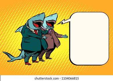 business shark copy space background speech. Comic cartoon pop art retro illustration vector drawing