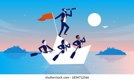 Business ship - People all in the same boat working hard and finding the way forward. Manager and employees teamwork concept. Vector illustration.