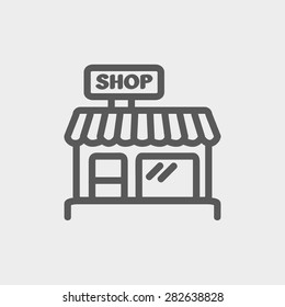 Business shop icon thin line for web and mobile, modern minimalistic flat design. Vector dark grey icon on light grey background.