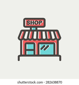 Business shop icon thin line for web and mobile, modern minimalistic flat design. Vector icon with dark grey outline and offset colour on light grey background.