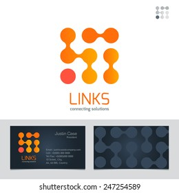 Business Sign & Business Card vector design template. Vector graphics represent links, connections, energy. Modern technology symbol concept. Brand visualization, corporate identity template. Editable
