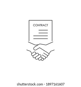 Business signing a contract icon. Handshake with document Business concept. Vector isolated line illustration.