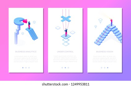 Business situations - set of isometric vector vertical web banners on purple background with copy space for text. Businessman with binocular, diagram sector. Research, leadership, analysis themes