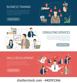 Business skill development training and consulting services website design 3 horizontal flat banners abstract isolated vector illustration