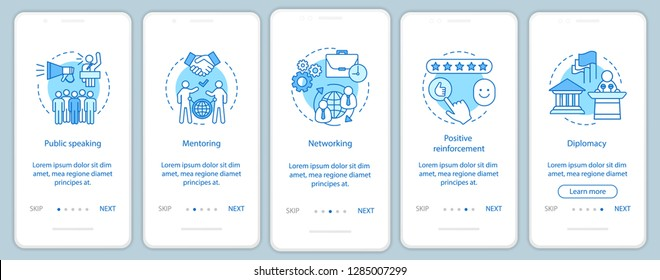 Business skills onboarding mobile app page screen vector template. Public speaking, mentoring, networking. Employee abilities walkthrough website steps. UX, UI, GUI smartphone interface concept