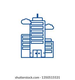 Business skyscrapper line icon concept. Business skyscrapper flat  vector symbol, sign, outline illustration.