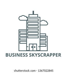 Business skyscrapper line icon, vector. Business skyscrapper outline sign, concept symbol, flat illustration