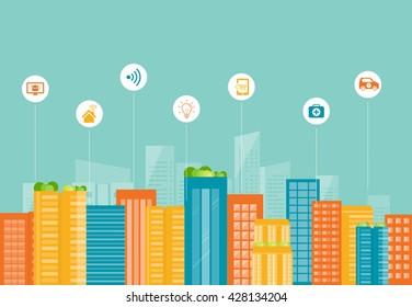 business smart city and  social   connection concept