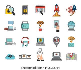 business and social media marketing vector illustration design