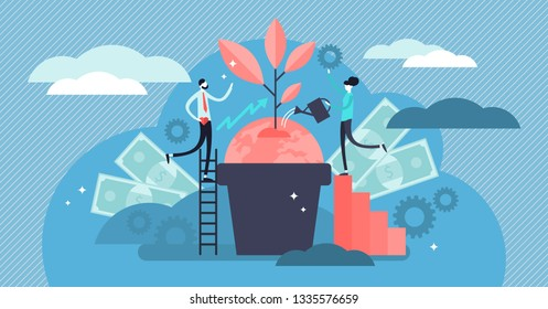 Business social responsibility vector illustration. Flat tiny ethical and honest persons concept. Symbolic corporate strategy for sustainable and fair rights organization management or CSR teamwork.