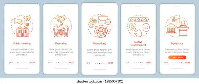 Business soft skills onboarding mobile app page screen vector template. Public speaking, mentoring, networking. Employee quality, walkthrough website steps. UX, UI, GUI smartphone interface concept