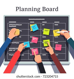 Business software development team planning iterations together. Scrum methodology task board full of tasks on sticky note cards. Hands sticking & writing on blackboard. Flat vector illustration.