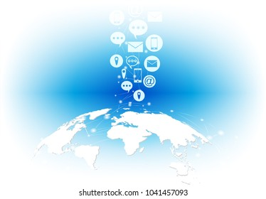 Business software and social media networking service concept. global with social media networking communicate global network connection. World map and line composition. white background,Vector