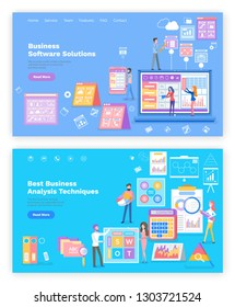 Business software solution, analysis techniques set of pages vector. People working on development of company, graphics on landing page flat style. Website or webpage template in flat