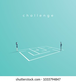 Business solution and challenge vector concept. Businesswoman and businessman standing next to a maze, labyrinth. Eps10 vector illustration.